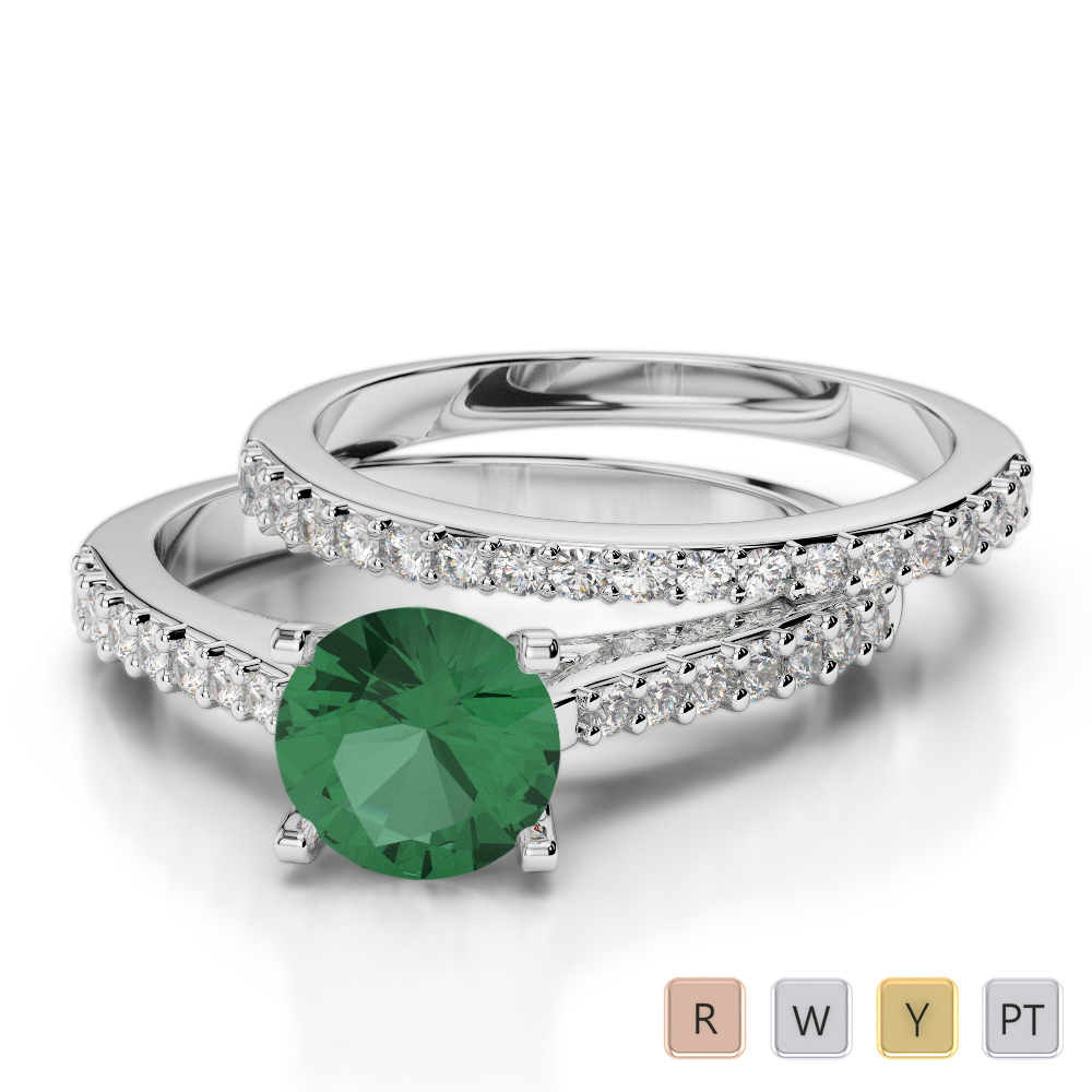 Gold / Platinum Round cut Emerald and Diamond Bridal Set Ring AGDR-2039
