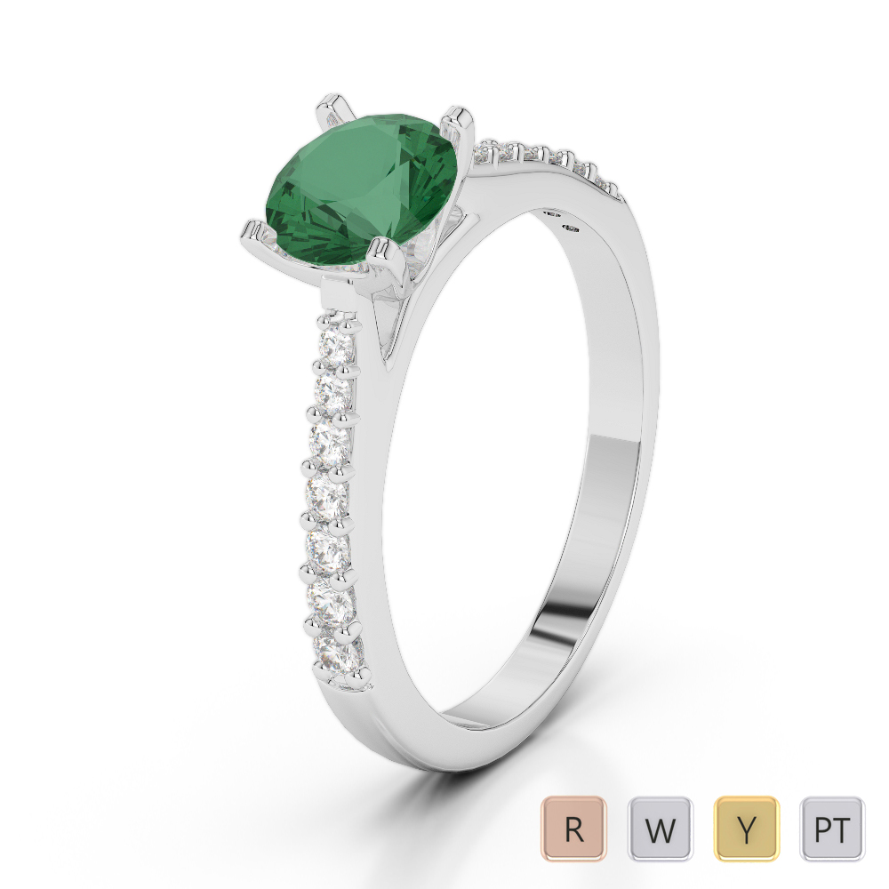 Gold / Platinum Round Cut Emerald and Diamond Engagement Ring AGDR-2040