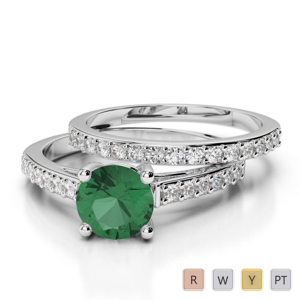 Gold / Platinum Round cut Emerald and Diamond Bridal Set Ring AGDR-2041
