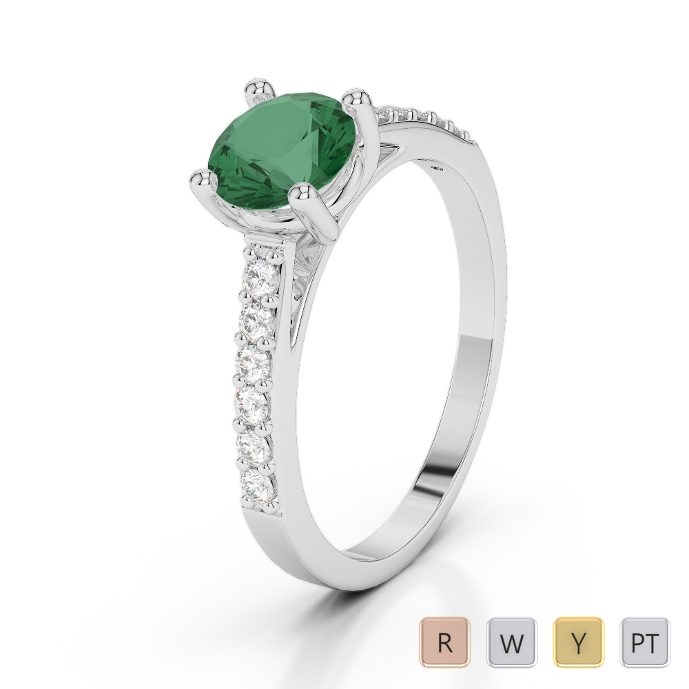 Gold / Platinum Round Cut Emerald and Diamond Engagement Ring AGDR-2042