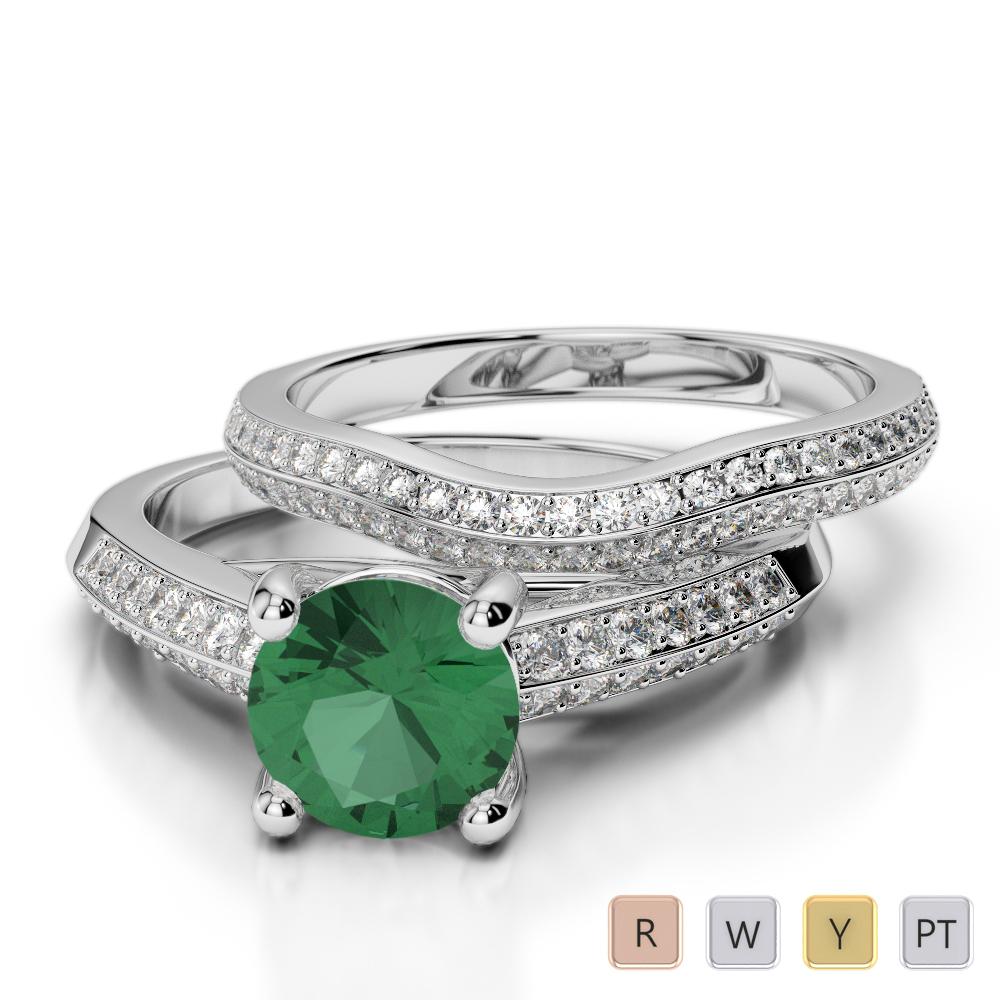 Gold / Platinum Round cut Emerald and Diamond Bridal Set Ring AGDR-2043