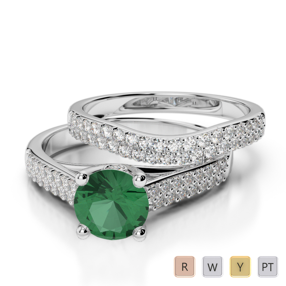 Gold / Platinum Round cut Emerald and Diamond Bridal Set Ring AGDR-2045
