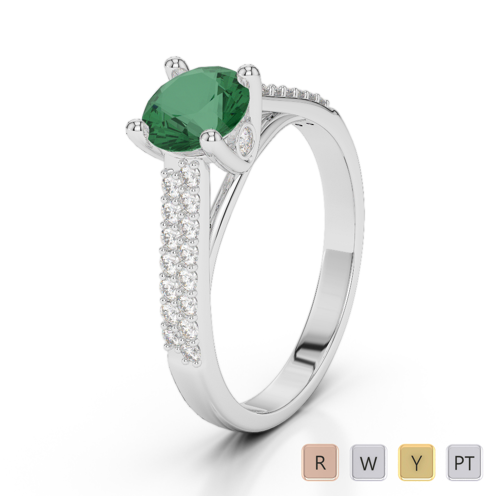 Gold / Platinum Round Cut Emerald and Diamond Engagement Ring AGDR-2046