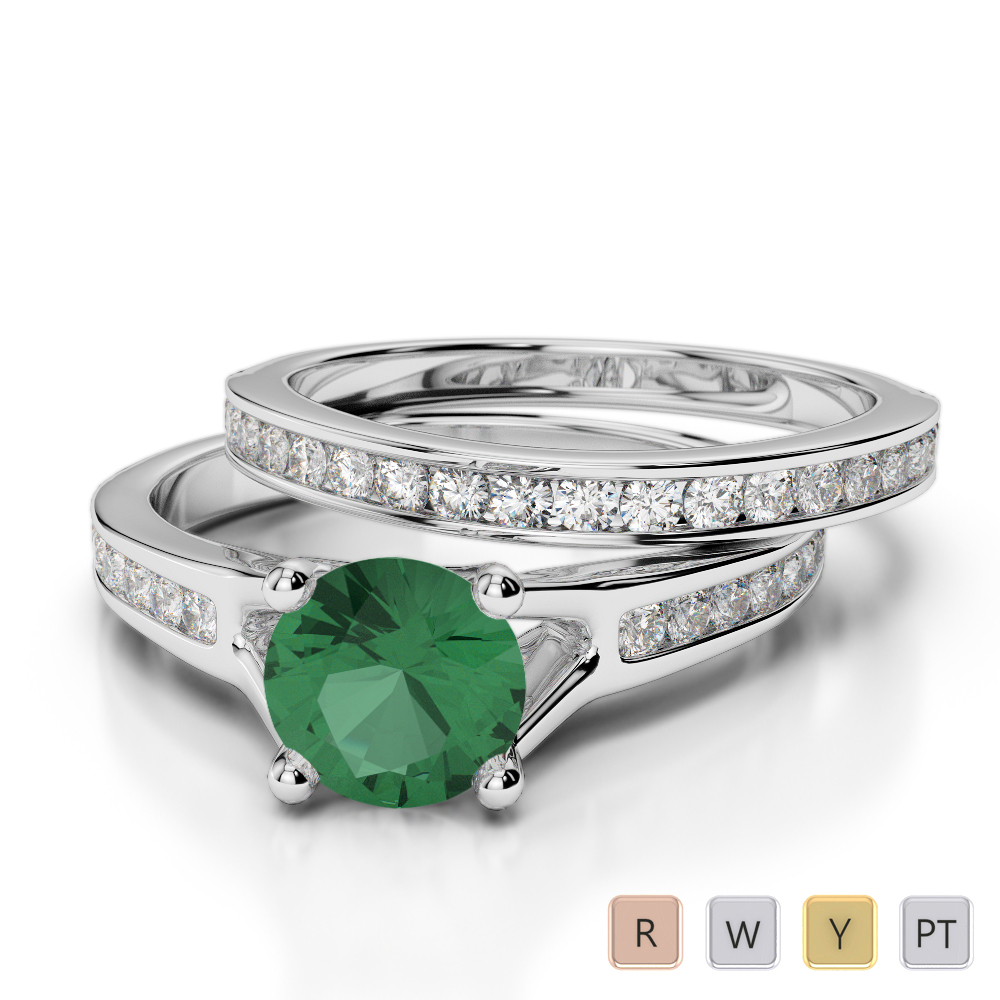 Gold / Platinum Round cut Emerald and Diamond Bridal Set Ring AGDR-2047