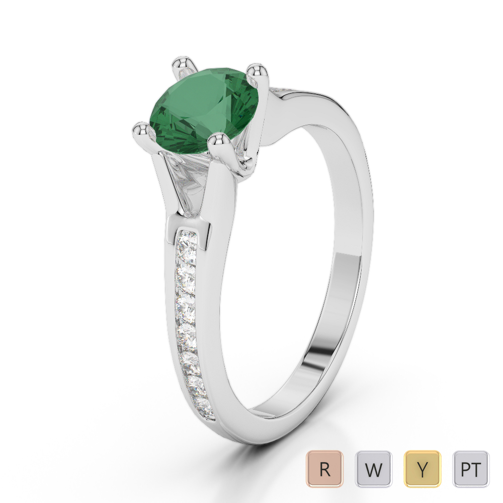 Gold / Platinum Round Cut Emerald and Diamond Engagement Ring AGDR-2048