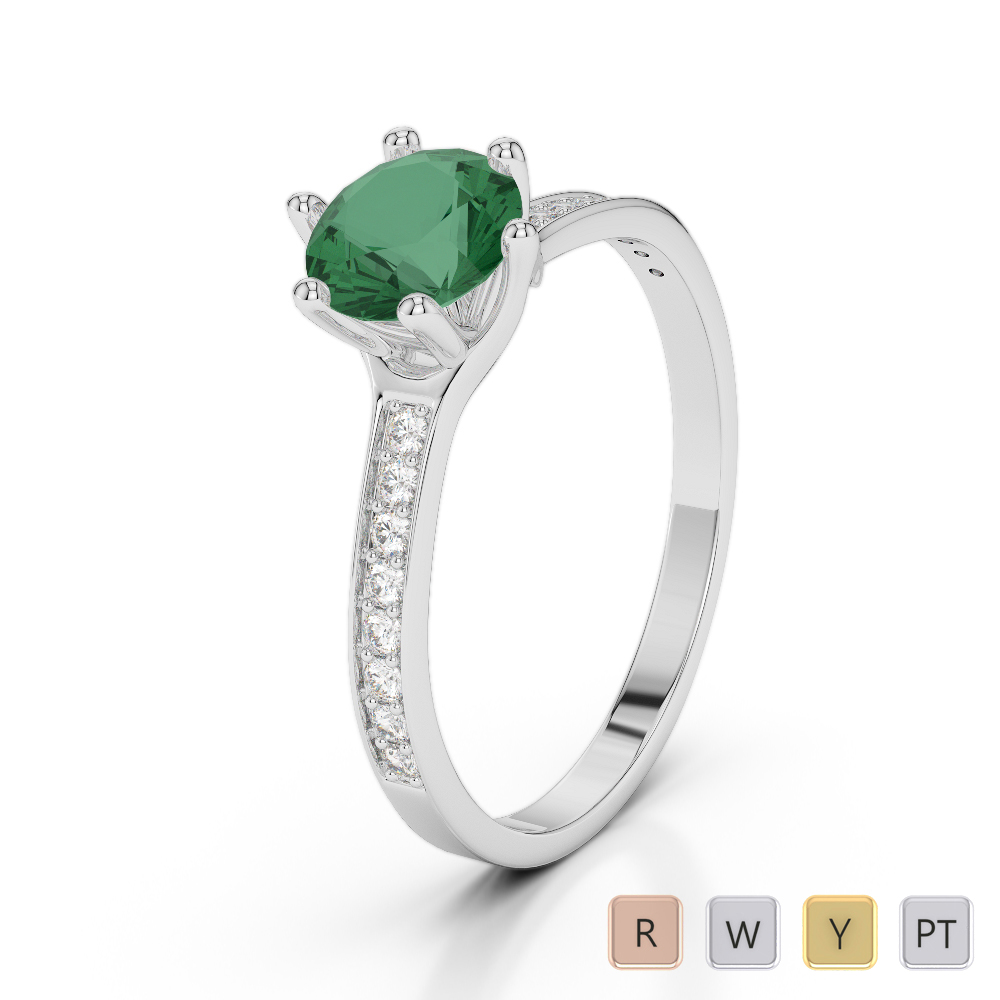 Gold / Platinum Round Cut Emerald and Diamond Engagement Ring AGDR-2050