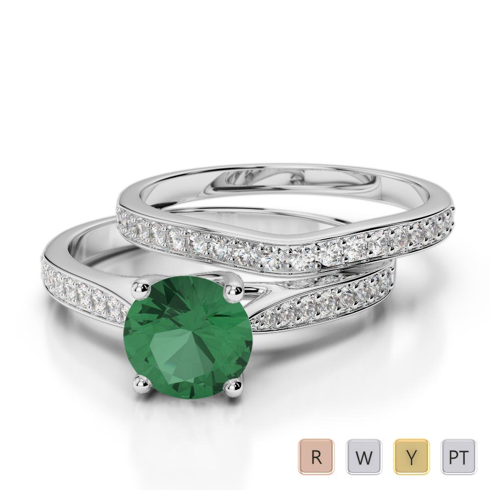 Gold / Platinum Round cut Emerald and Diamond Bridal Set Ring AGDR-2053