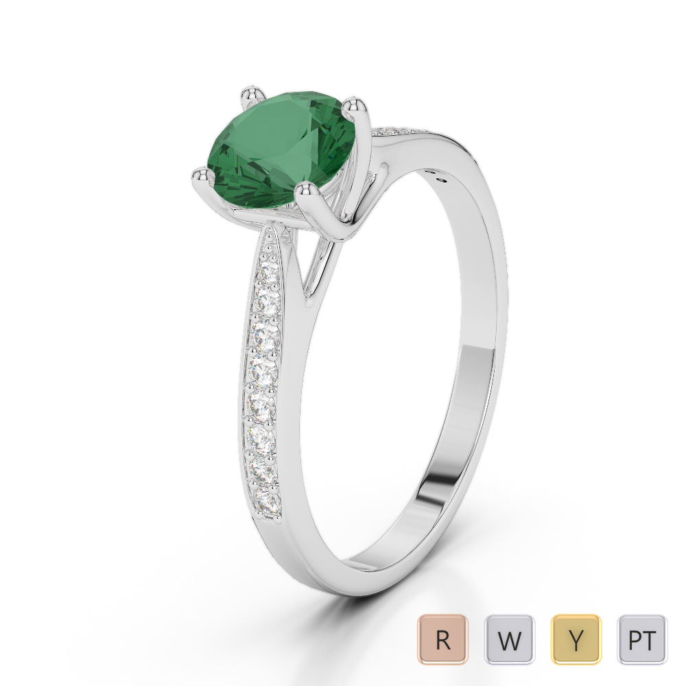 Gold / Platinum Round Cut Emerald and Diamond Engagement Ring AGDR-2054