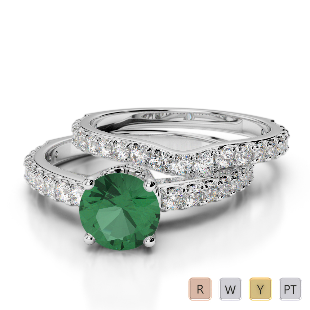 Gold / Platinum Round cut Emerald and Diamond Bridal Set Ring AGDR-2055