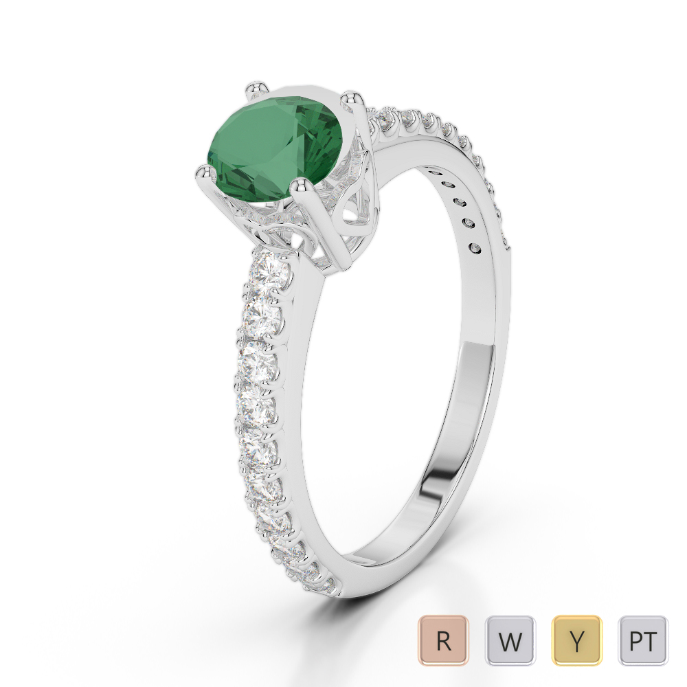 Gold / Platinum Round Cut Emerald and Diamond Engagement Ring AGDR-2056
