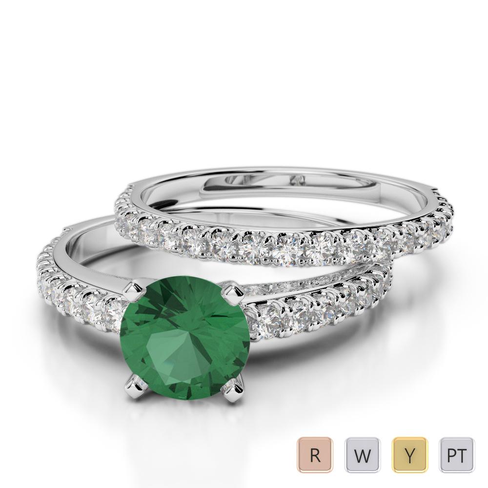 Gold / Platinum Round cut Emerald and Diamond Bridal Set Ring AGDR-2057