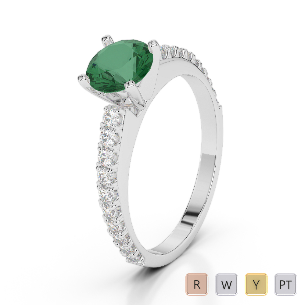 Gold / Platinum Round Cut Emerald and Diamond Engagement Ring AGDR-2058