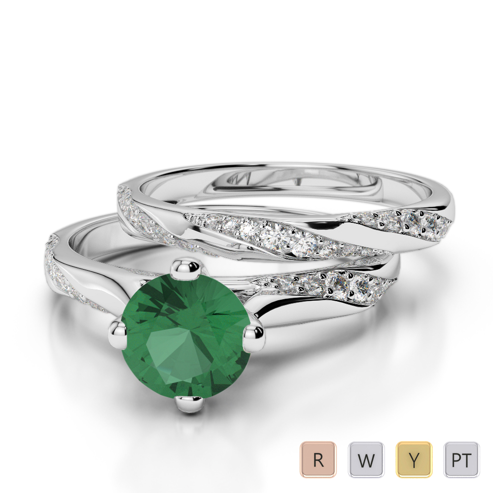 Gold / Platinum Round cut Emerald and Diamond Bridal Set Ring AGDR-2059