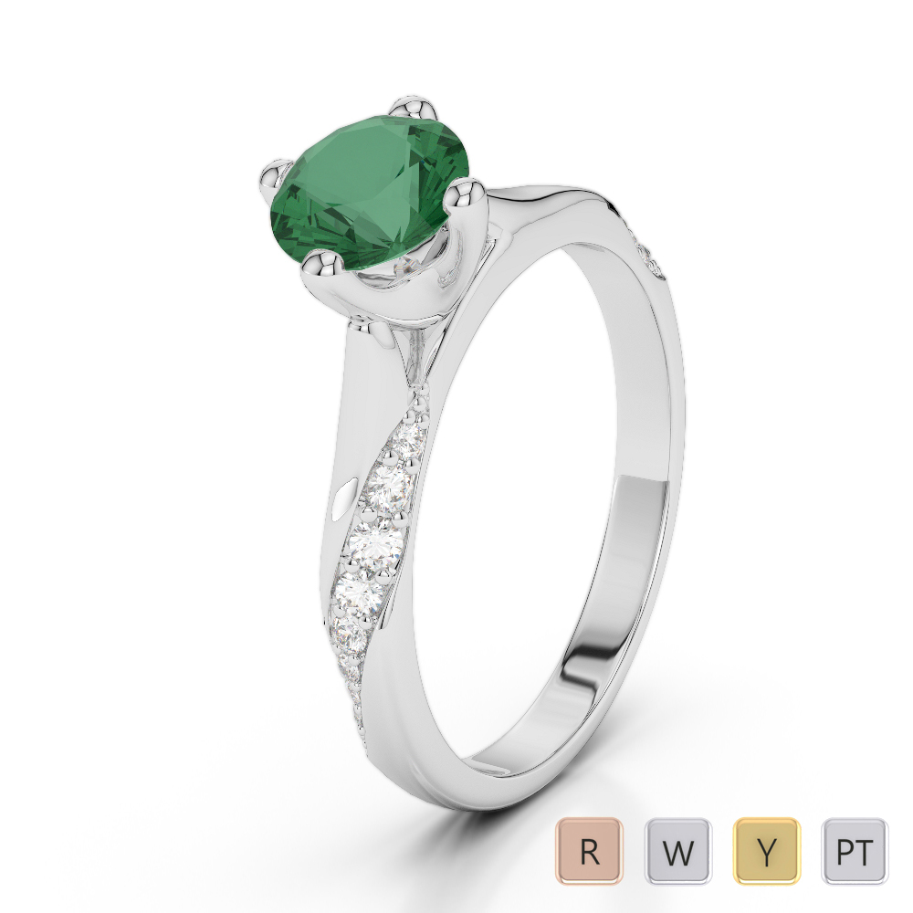 Gold / Platinum Round Cut Emerald and Diamond Engagement Ring AGDR-2060