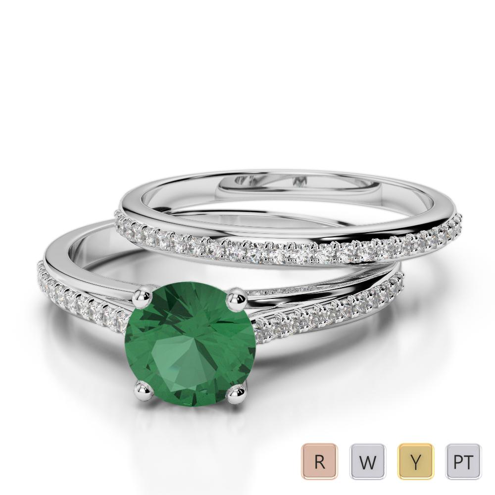 Gold / Platinum Round cut Emerald and Diamond Bridal Set Ring AGDR-2061