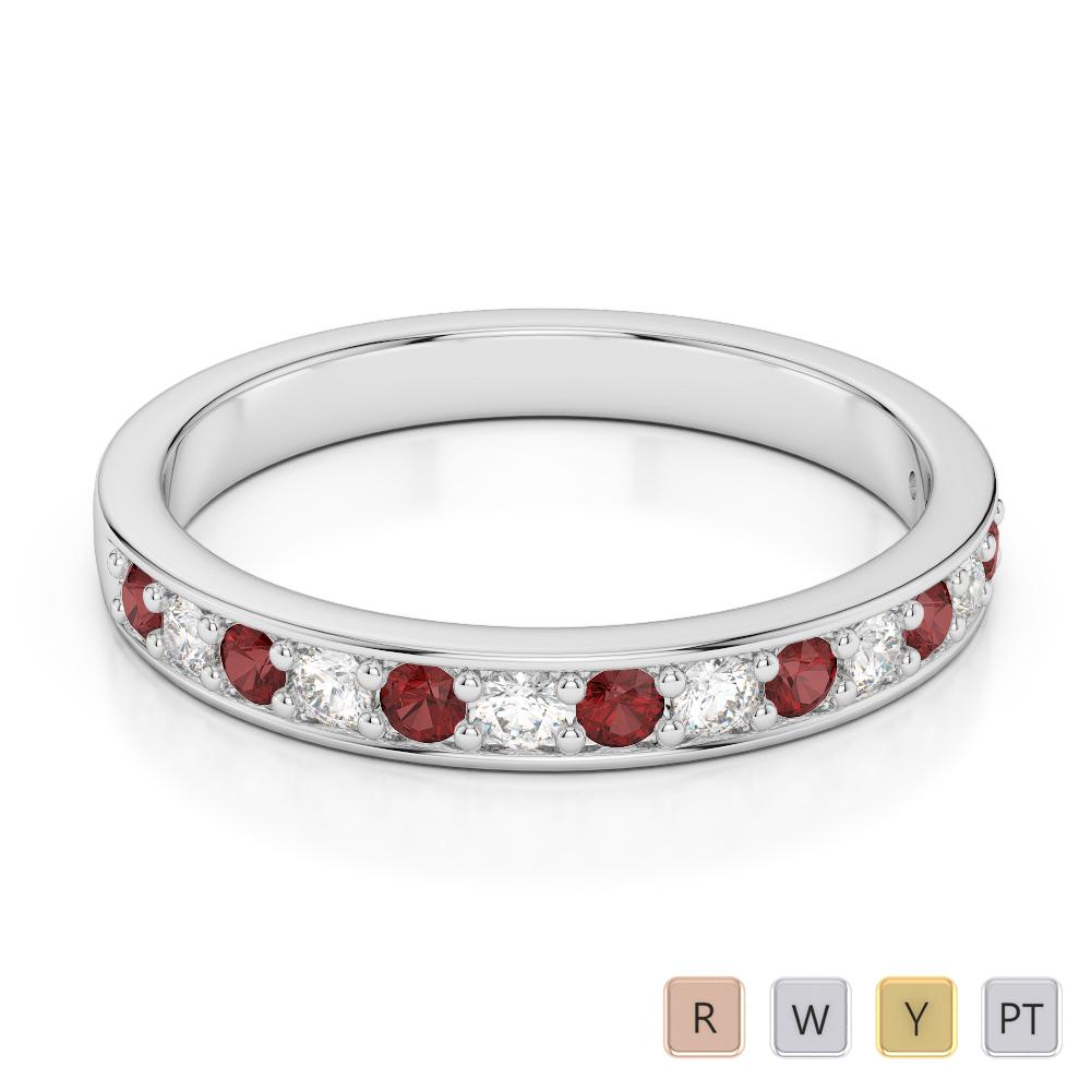 2.5 MM Gold / Platinum Round Cut Garnet and Diamond Half Eternity Ring AGDR-1083