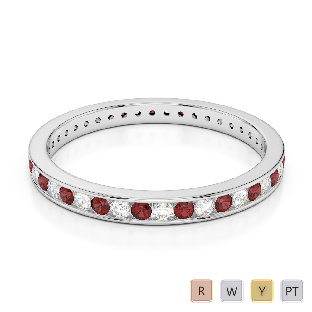 2.5 MM Gold / Platinum Round Cut Garnet and Diamond Full Eternity Ring AGDR-1086