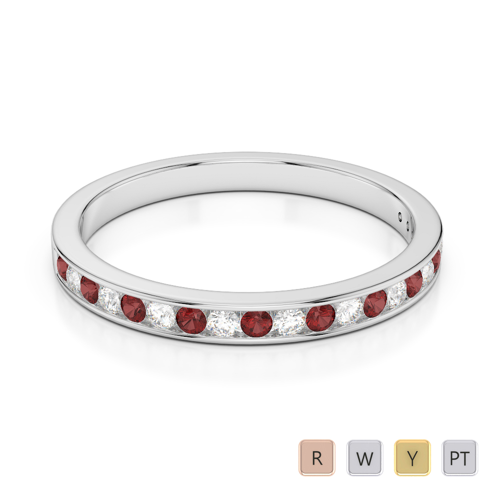 2.5 MM Gold / Platinum Round Cut Garnet and Diamond Half Eternity Ring AGDR-1089