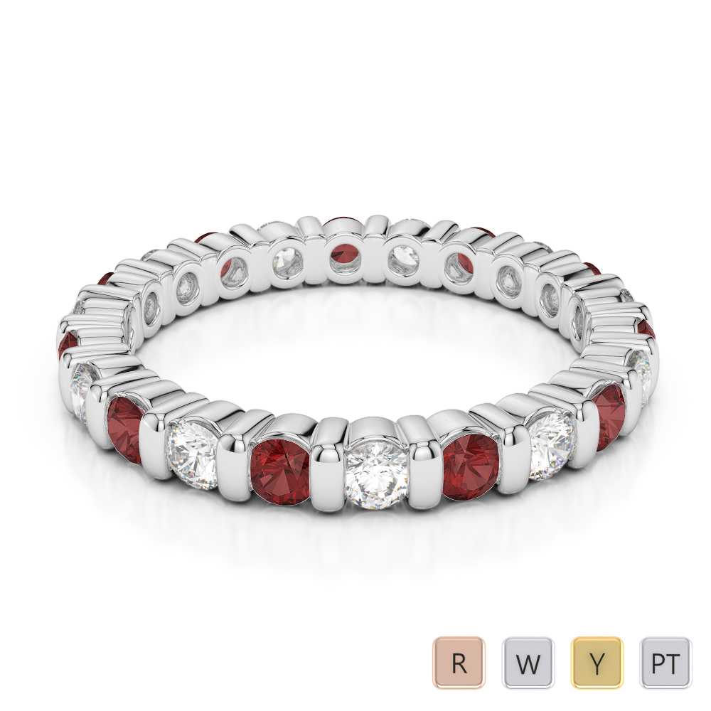 2.5 MM Gold / Platinum Round Cut Garnet and Diamond Full Eternity Ring AGDR-1093