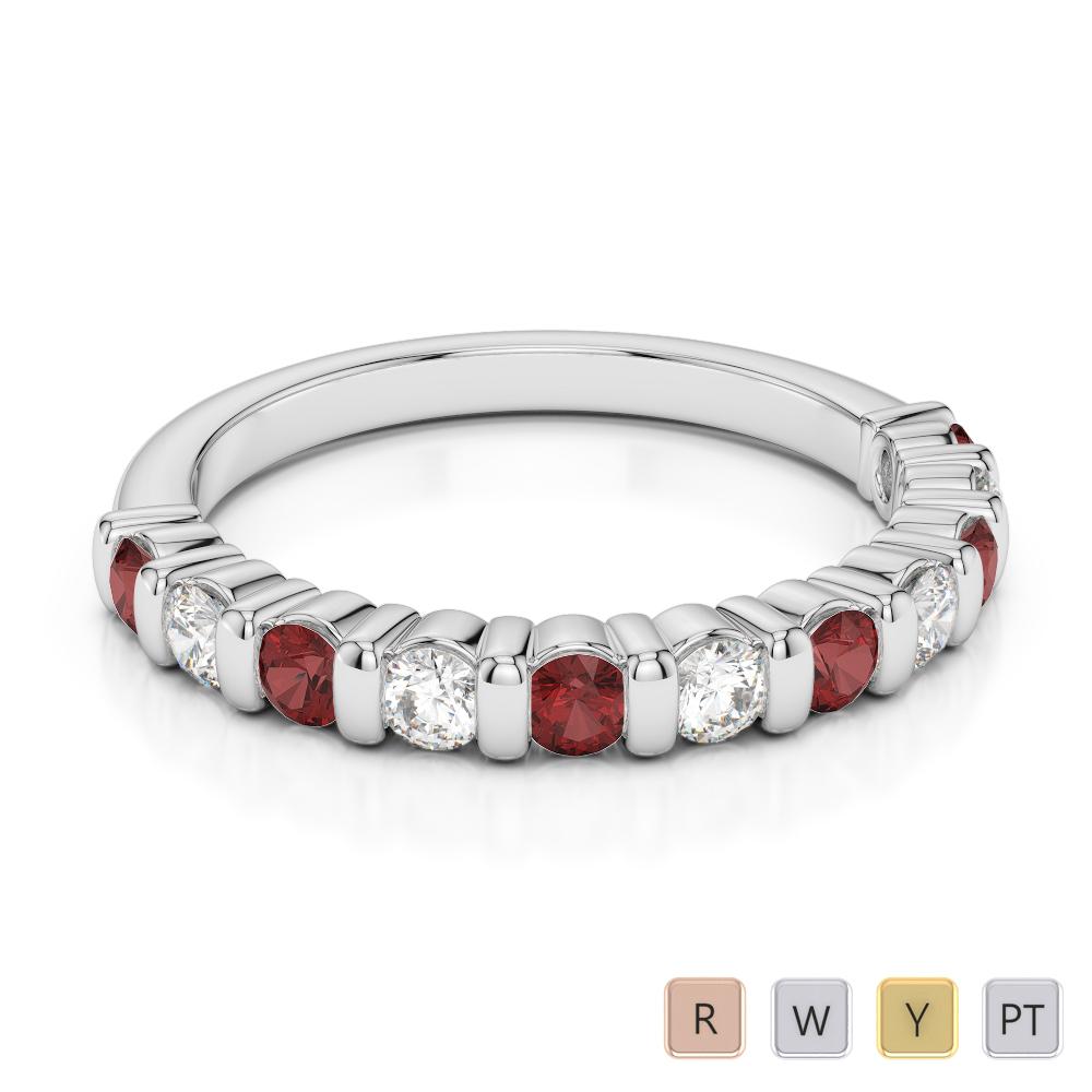 2.5 MM Gold / Platinum Round Cut Garnet and Diamond Half Eternity Ring AGDR-1096