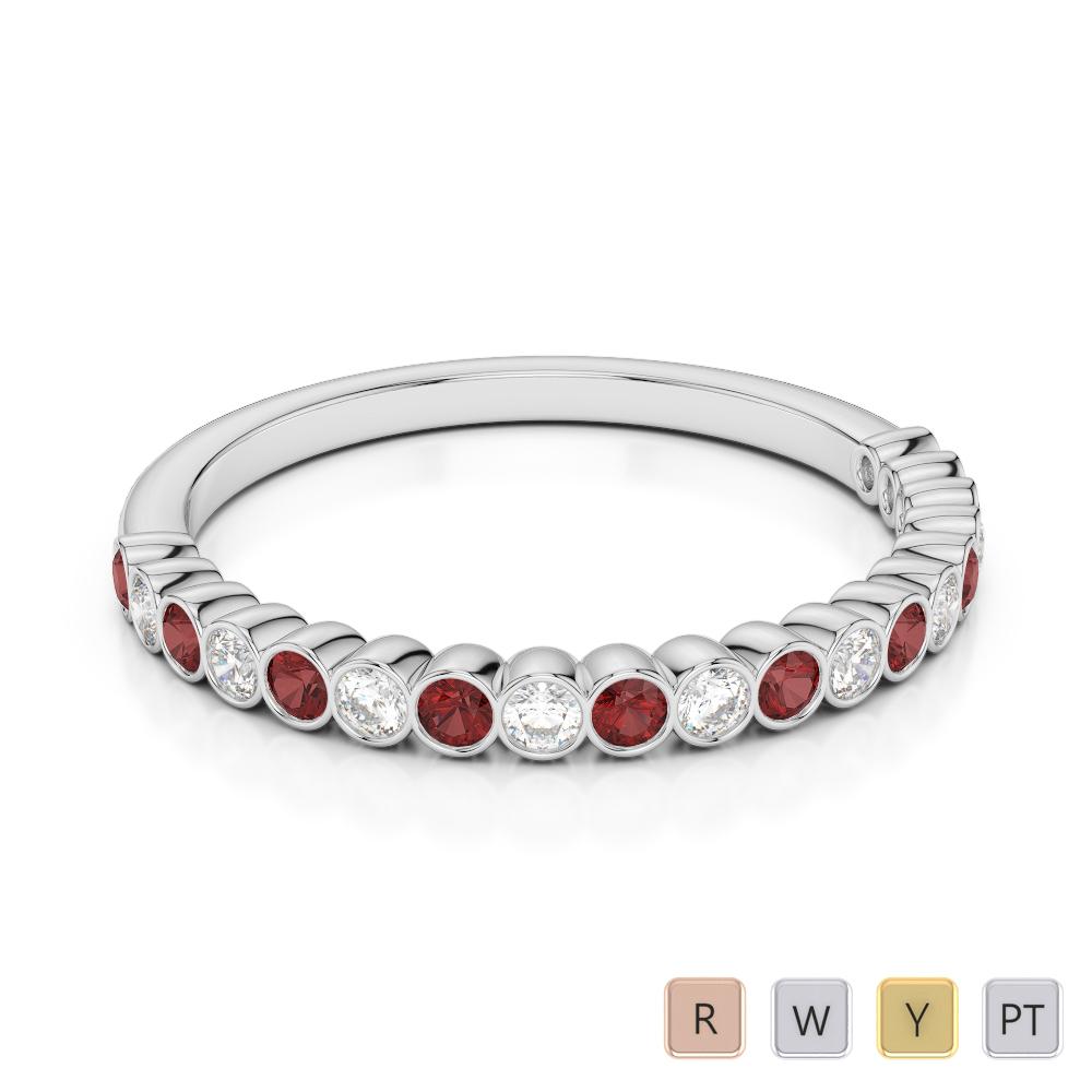 2 MM Gold / Platinum Round Cut Garnet and Diamond Half Eternity Ring AGDR-1101