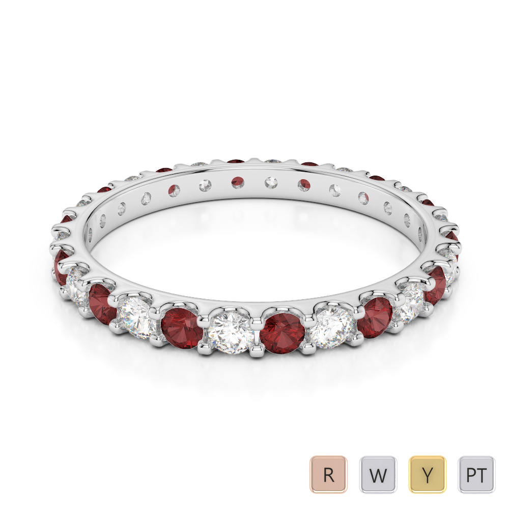 2 MM Gold / Platinum Round Cut Garnet and Diamond Full Eternity Ring AGDR-1104