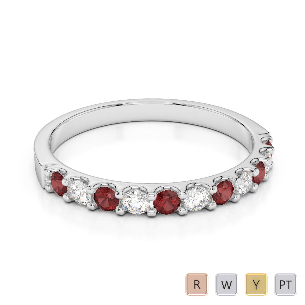 2 MM Gold / Platinum Round Cut Garnet and Diamond Half Eternity Ring AGDR-1107