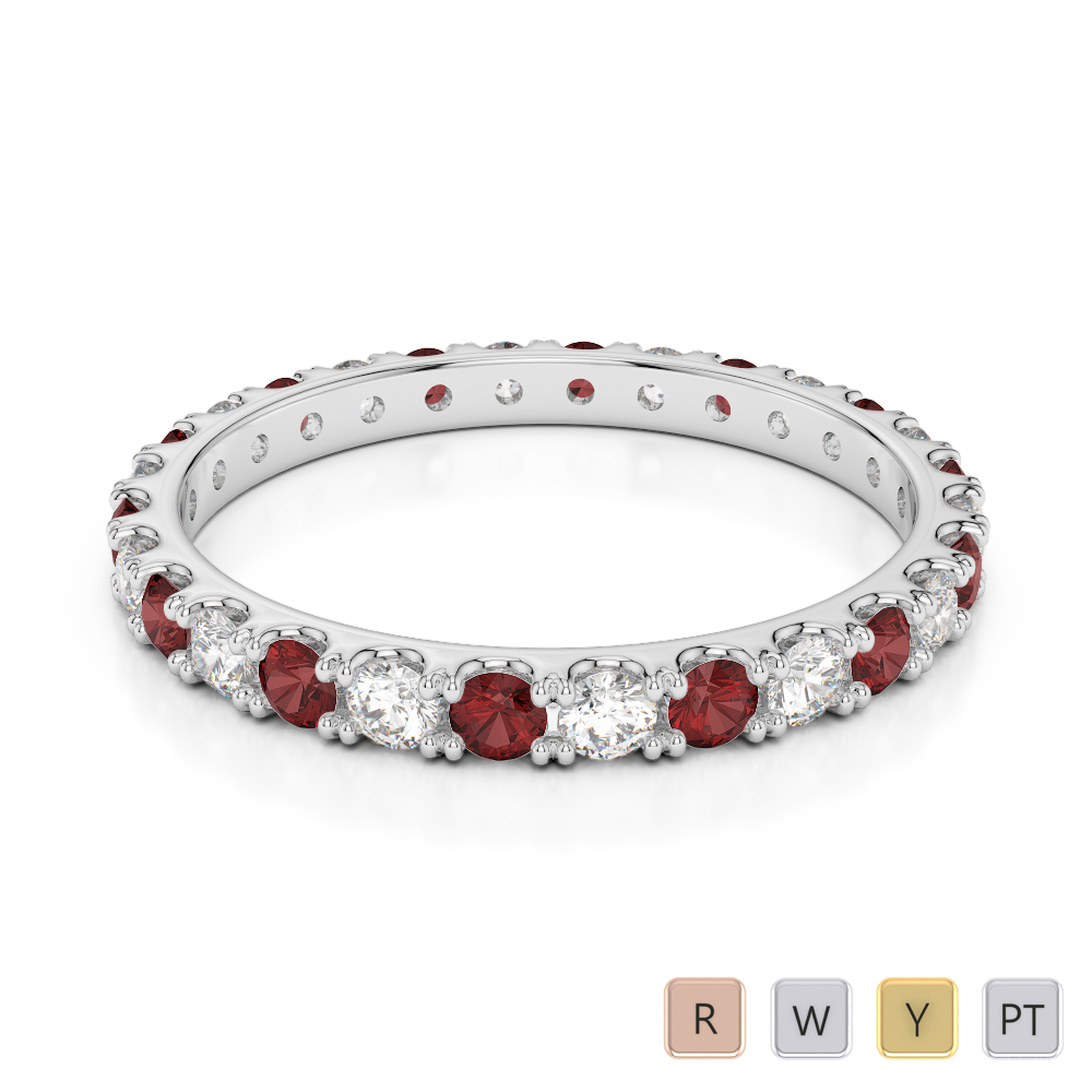 2 MM Gold / Platinum Round Cut Garnet and Diamond Full Eternity Ring AGDR-1120