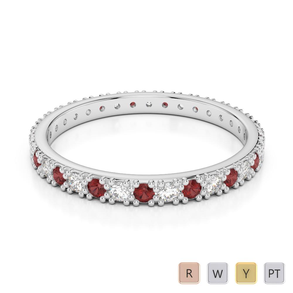 2 MM Gold / Platinum Round Cut Garnet and Diamond Full Eternity Ring AGDR-1126