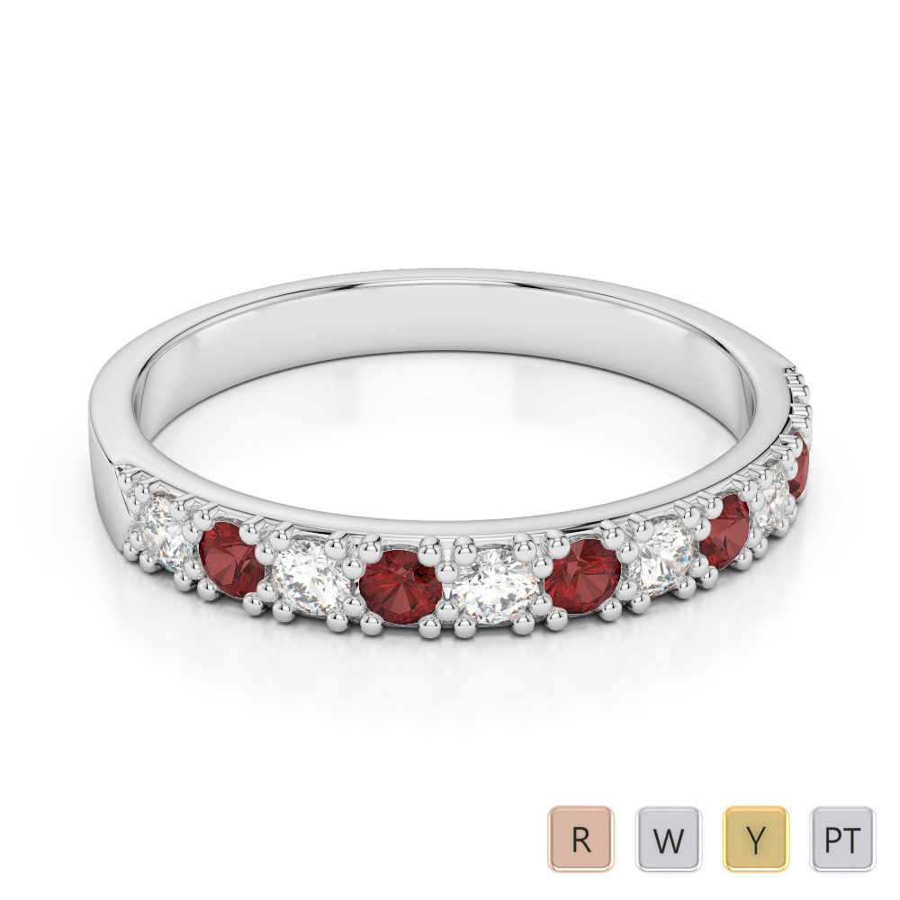 3 MM Gold / Platinum Round Cut Garnet and Diamond Half Eternity Ring AGDR-1130