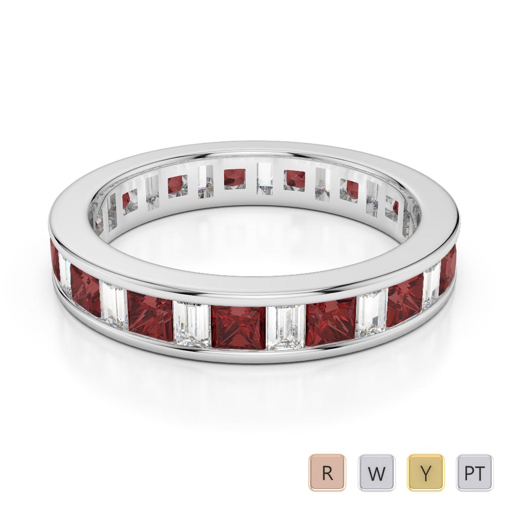4 MM Gold / Platinum Princess and Baguette Cut Garnet and Diamond Full Eternity Ring AGDR-1141