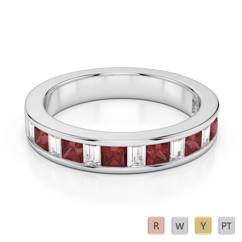 4 MM Gold / Platinum Princess and Baguette Cut Garnet and Diamond Half Eternity Ring AGDR-1143