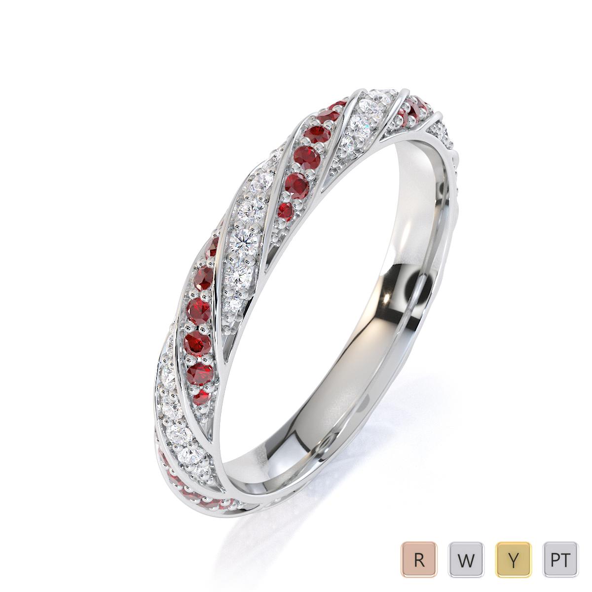 Gold / Platinum Garnet and Diamond Full Eternity Ring RZ1528