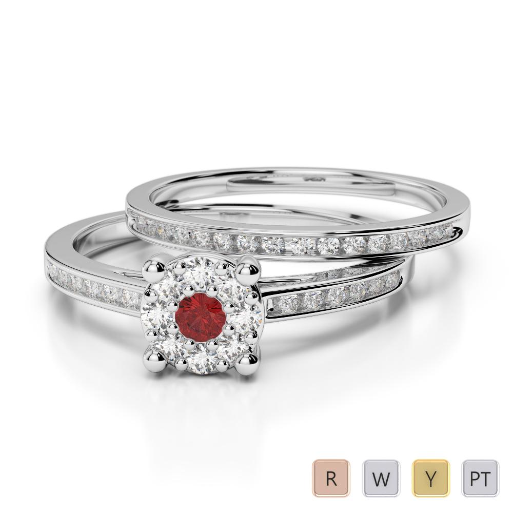 Gold / Platinum Round cut Garnet and Diamond Bridal Set Ring AGDR-1052