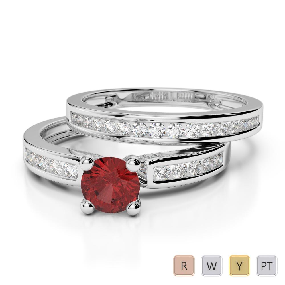 Gold / Platinum Round cut Garnet and Diamond Bridal Set Ring AGDR-1157