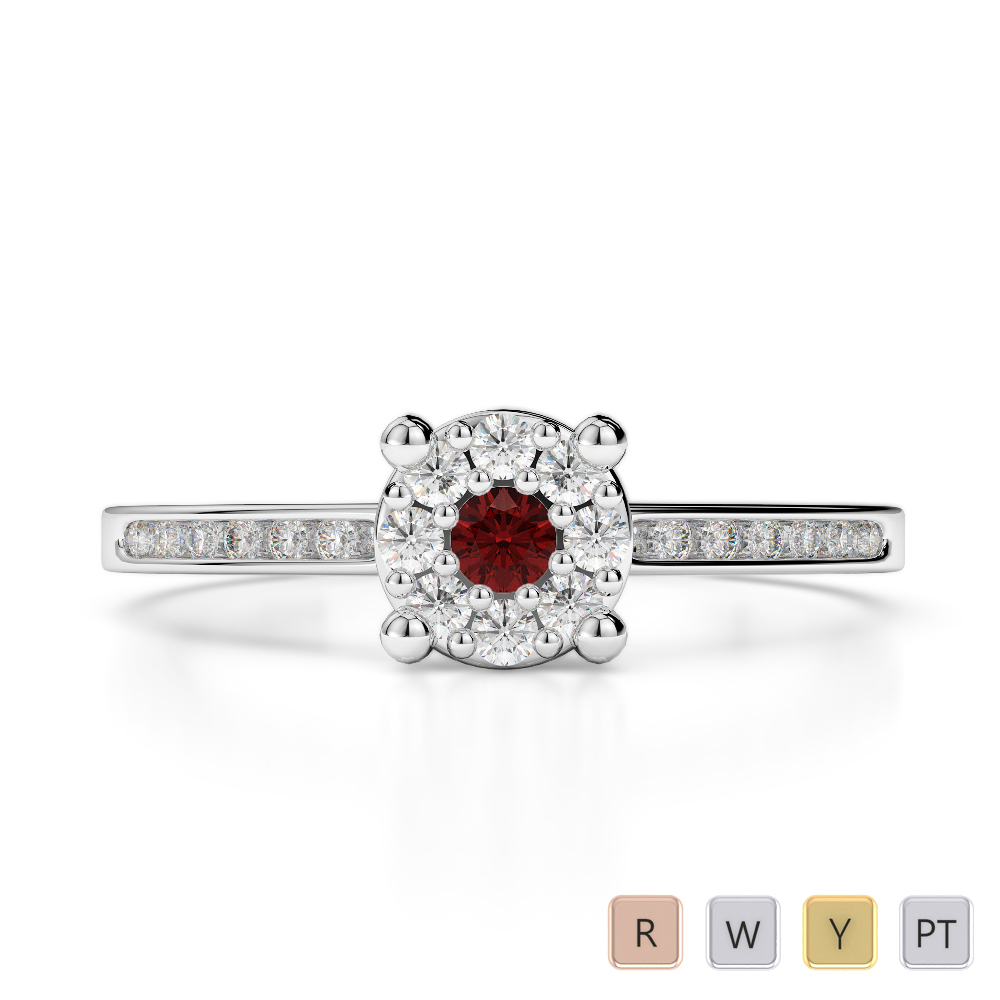 Gold / Platinum Round Cut Garnet and Diamond Engagement Ring AGDR-1163