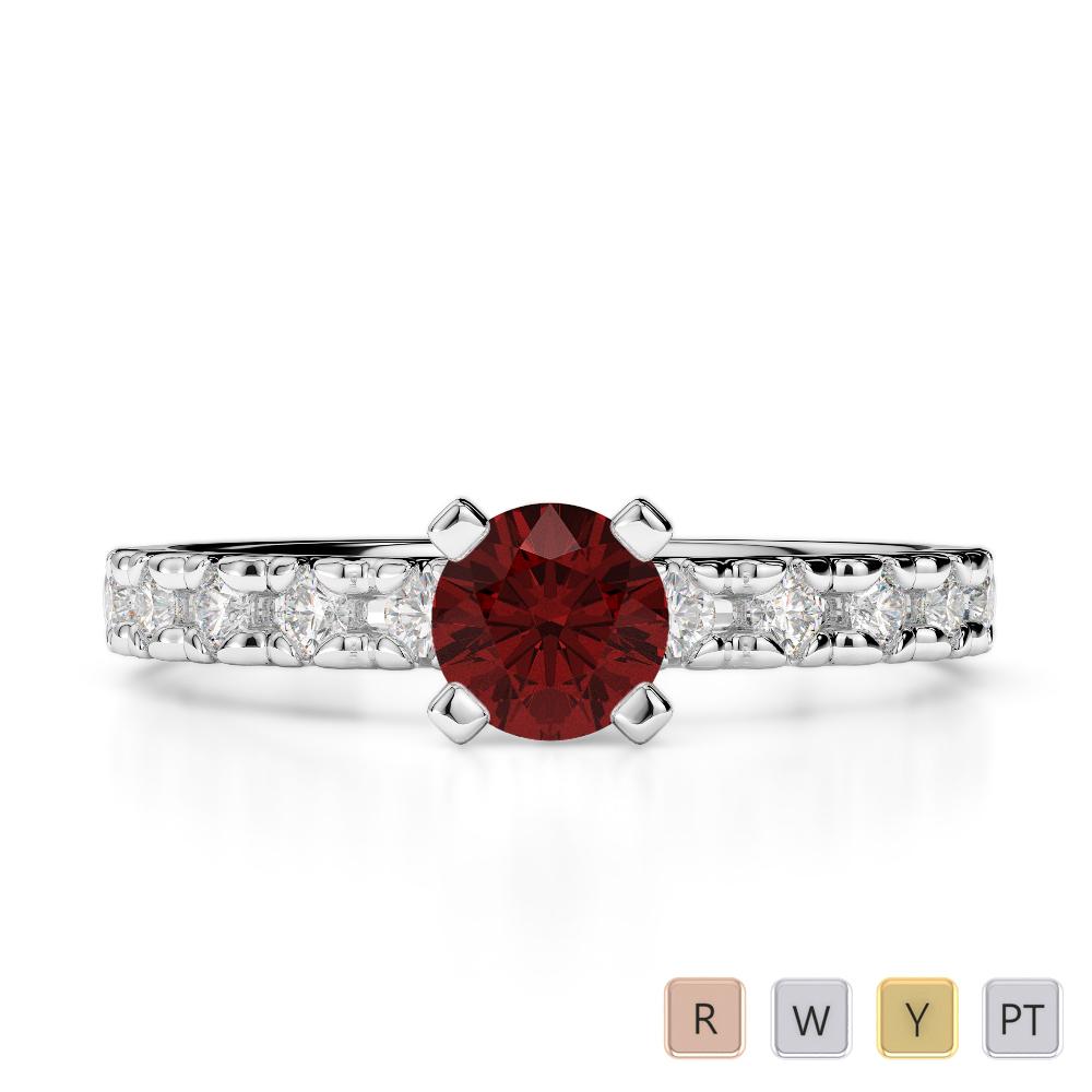 Gold / Platinum Round Cut Garnet and Diamond Engagement Ring AGDR-1171