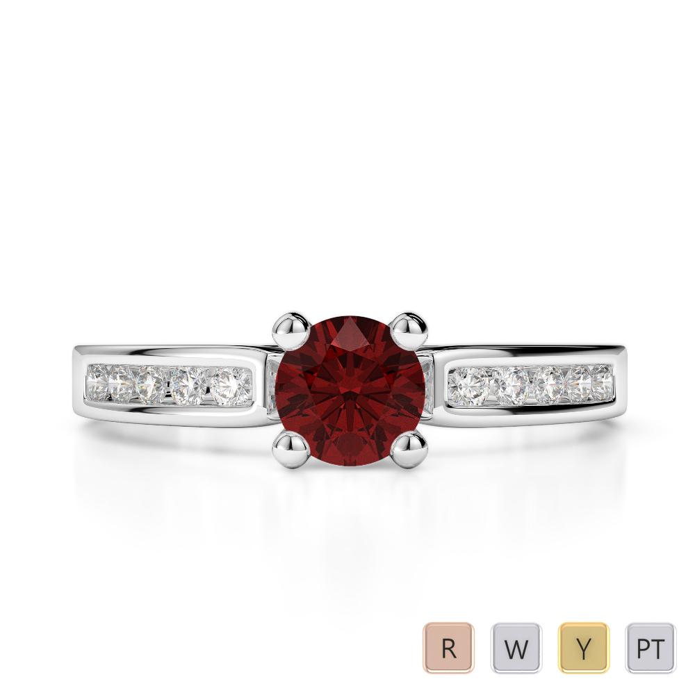 Gold / Platinum Round Cut Garnet and Diamond Engagement Ring AGDR-1184