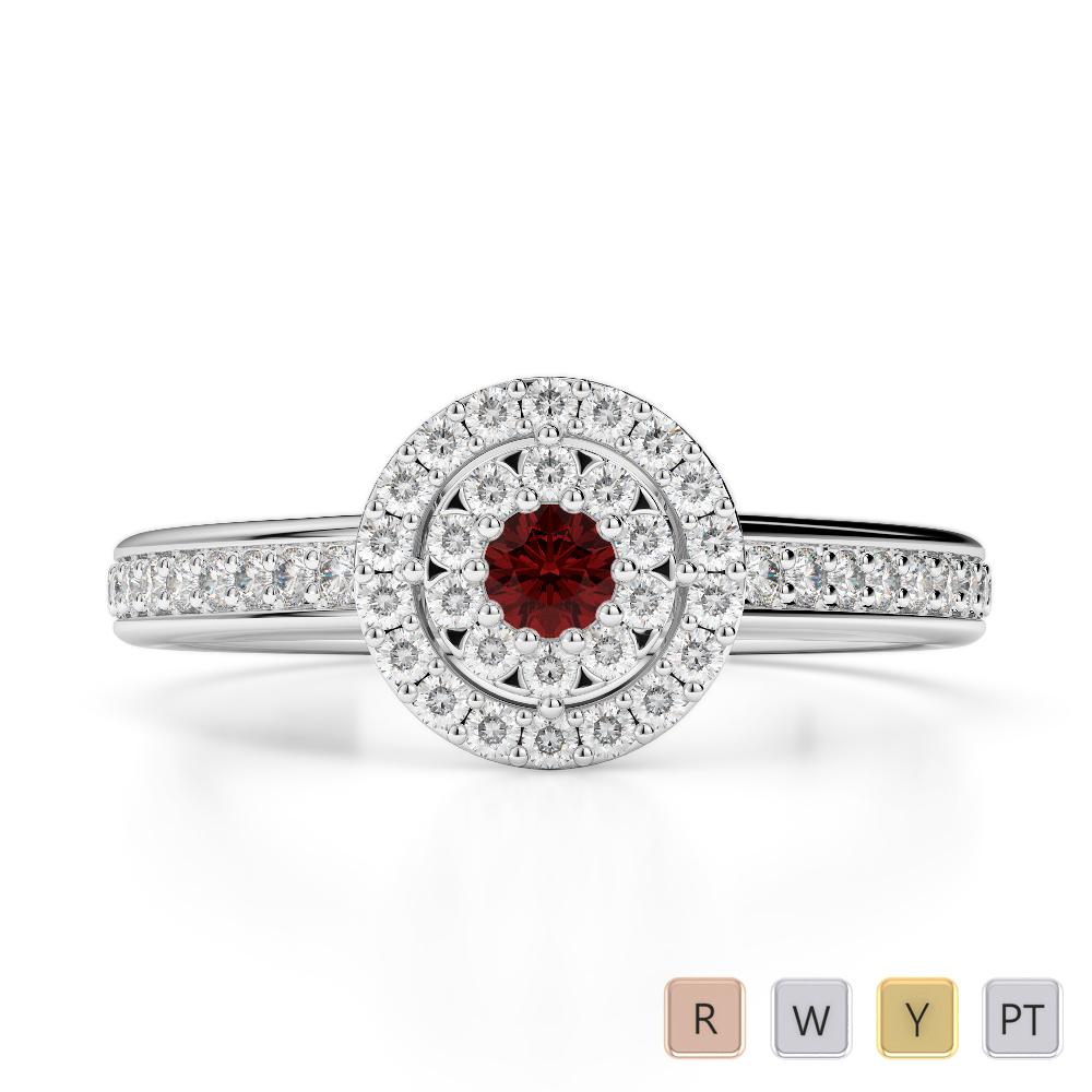 Gold / Platinum Round Cut Garnet and Diamond Engagement Ring AGDR-1188