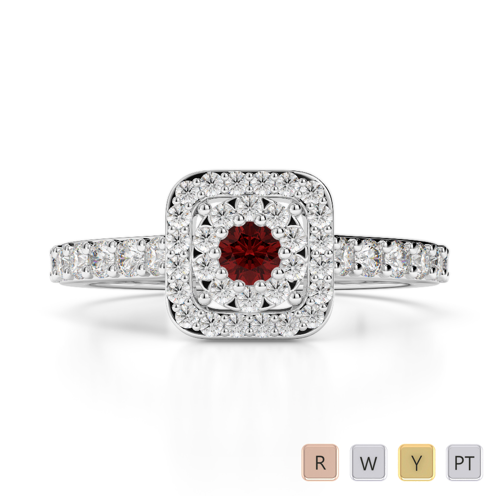 Gold / Platinum Round Cut Garnet and Diamond Engagement Ring AGDR-1189
