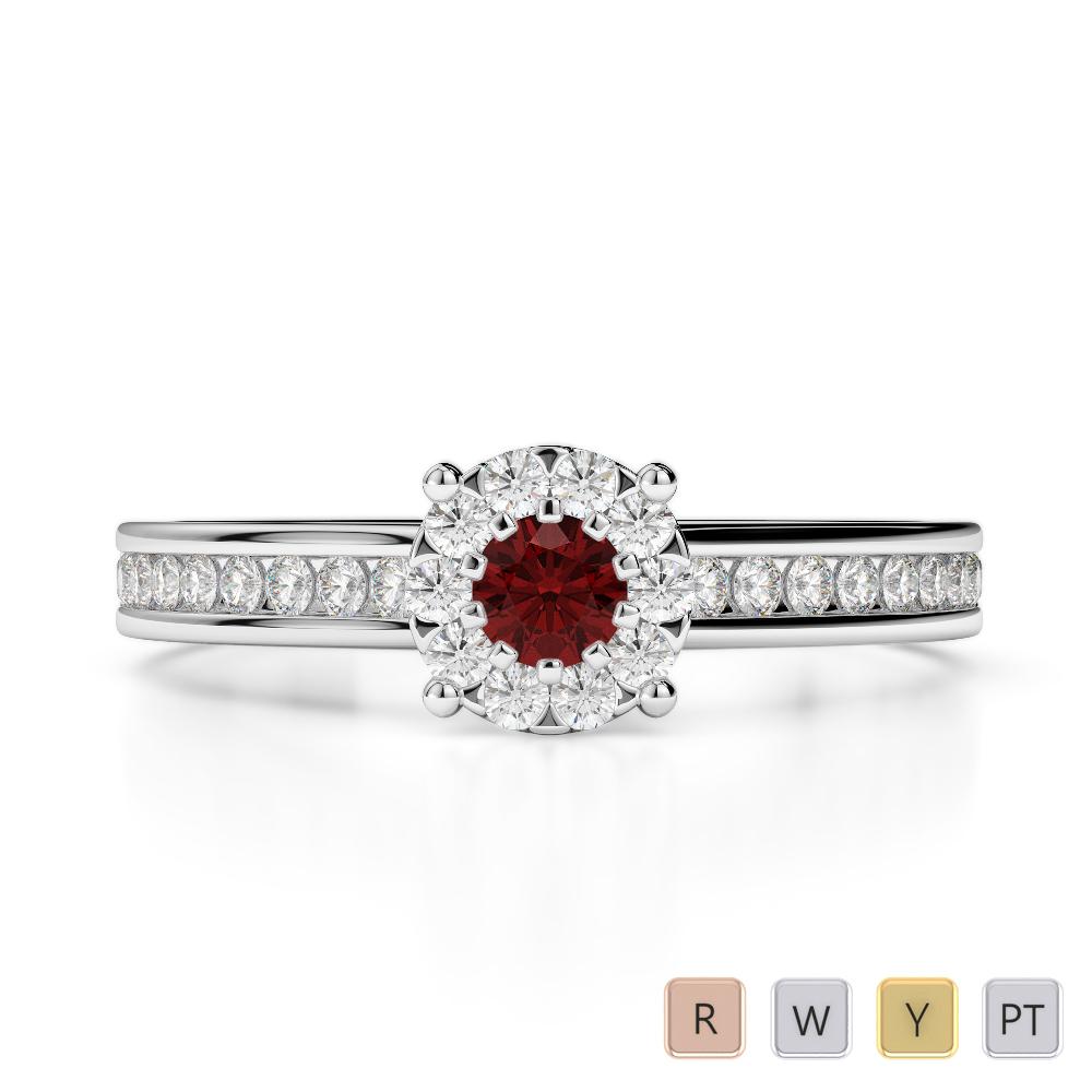 Gold / Platinum Round Cut Garnet and Diamond Engagement Ring AGDR-1190