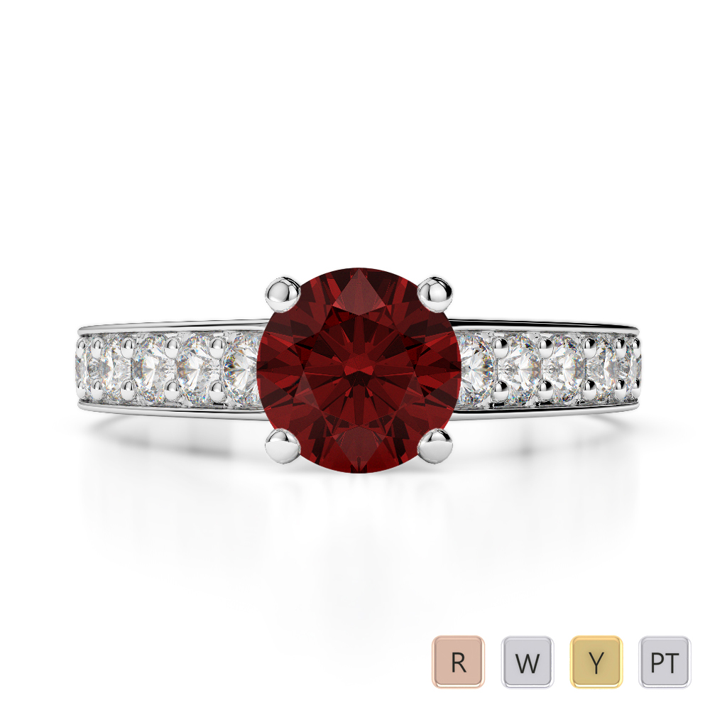 Gold / Platinum Round Cut Garnet and Diamond Engagement Ring AGDR-1202