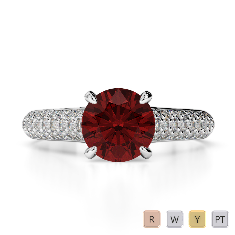 Gold / Platinum Round Cut Garnet and Diamond Engagement Ring AGDR-1203