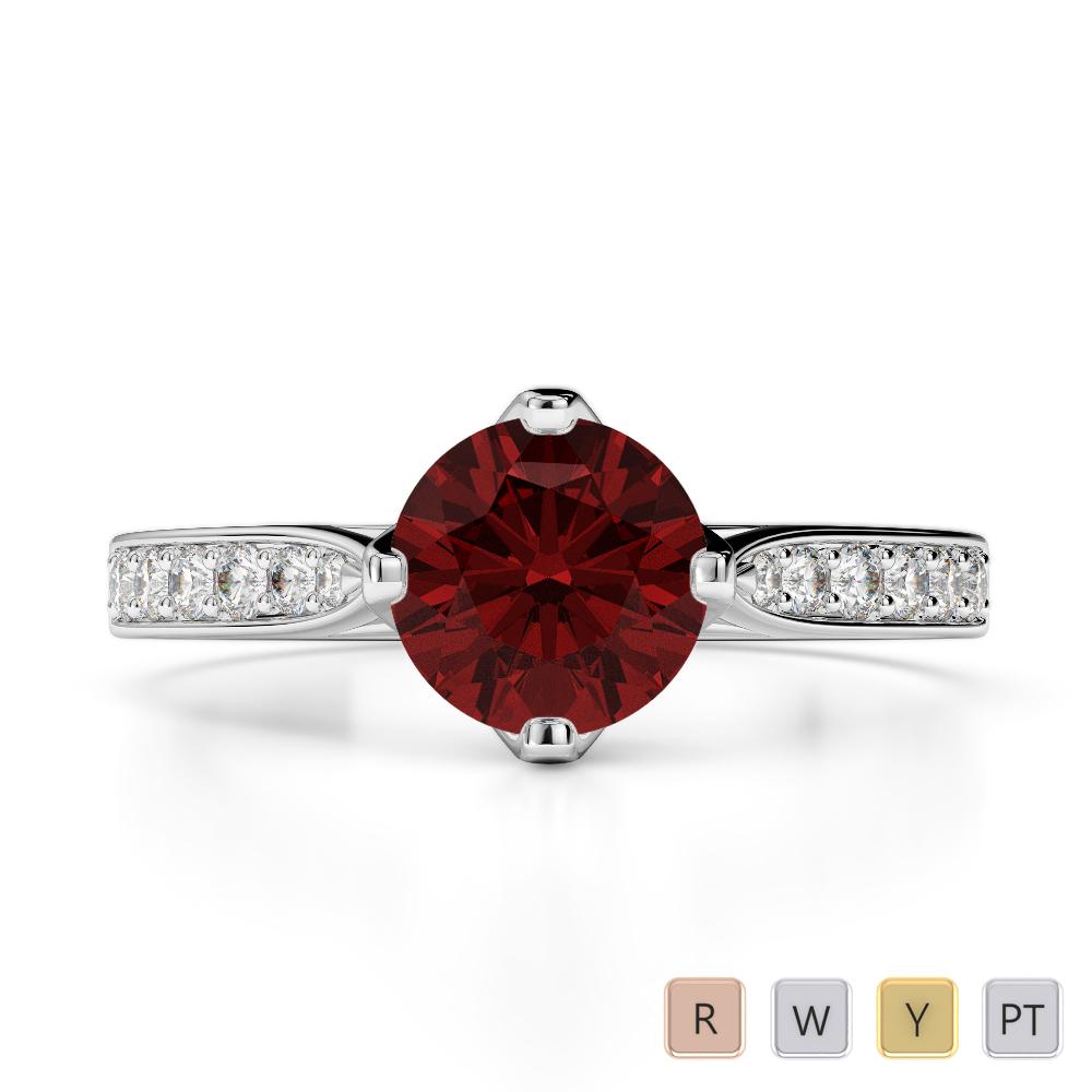 Gold / Platinum Round Cut Garnet and Diamond Engagement Ring AGDR-1204
