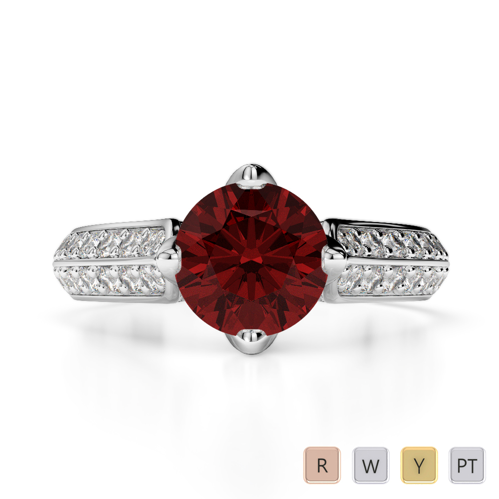 Gold / Platinum Round Cut Garnet and Diamond Engagement Ring AGDR-1205