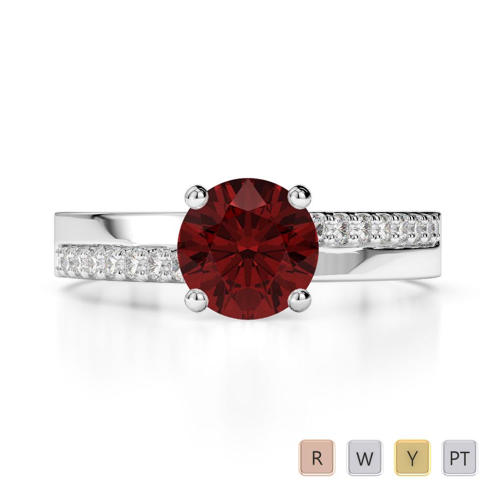 Gold / Platinum Round Cut Garnet and Diamond Engagement Ring AGDR-1206