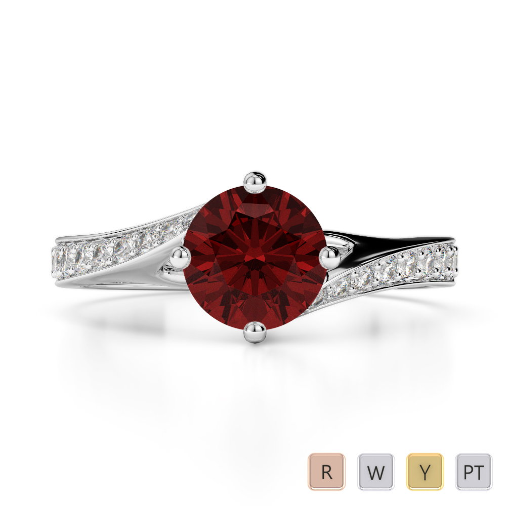 Gold / Platinum Round Cut Garnet and Diamond Engagement Ring AGDR-1207