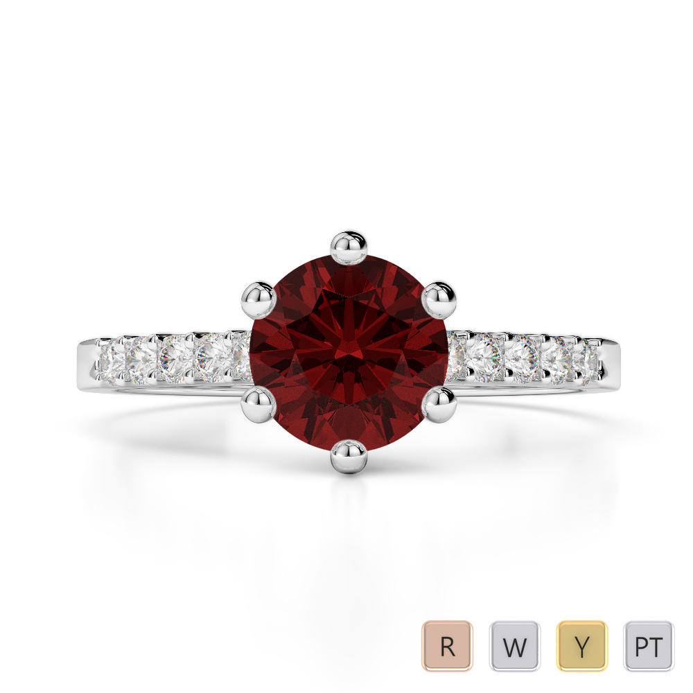 Gold / Platinum Round Cut Garnet and Diamond Engagement Ring AGDR-1208