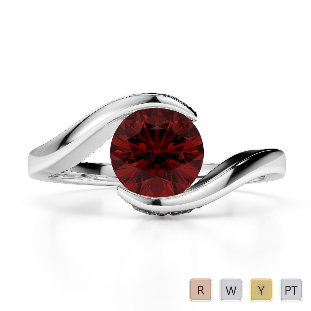 Gold / Platinum Round Cut Garnet and Diamond Engagement Ring AGDR-1209