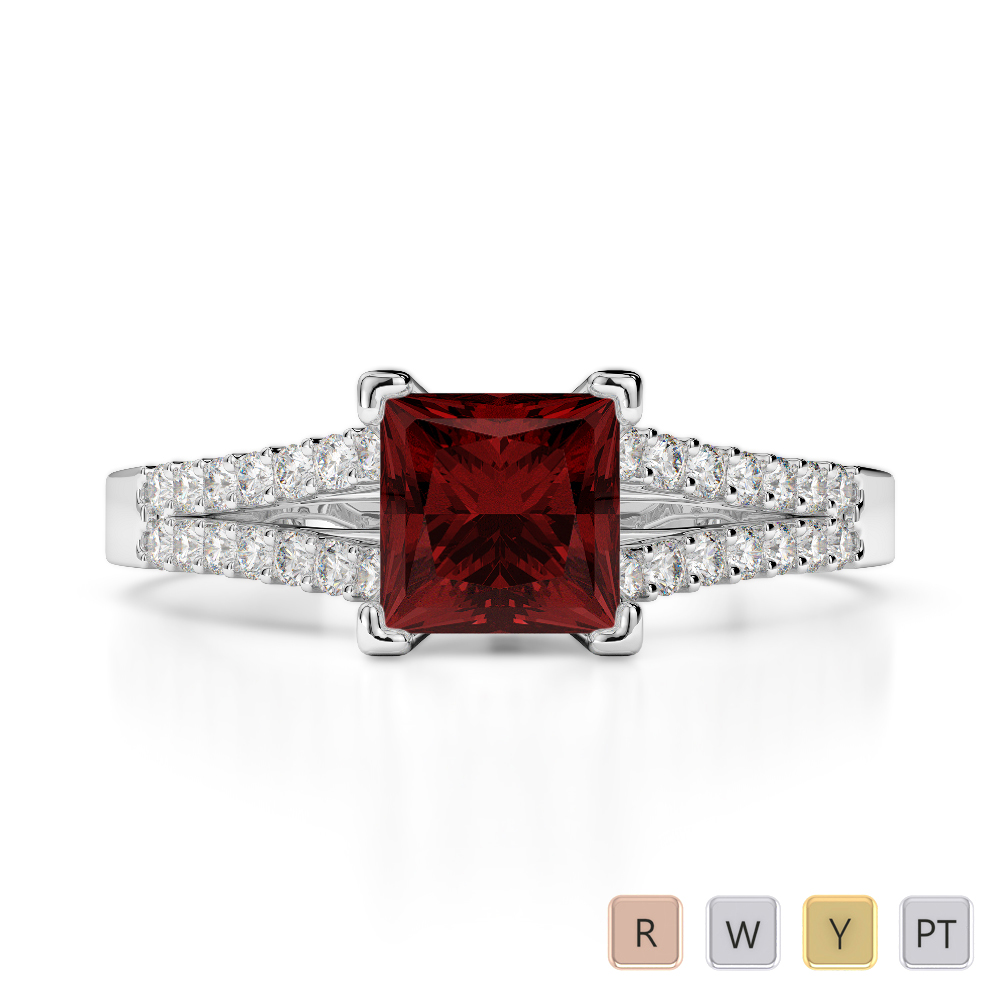 Gold / Platinum Round and Princess Cut Garnet and Diamond Engagement Ring AGDR-1211